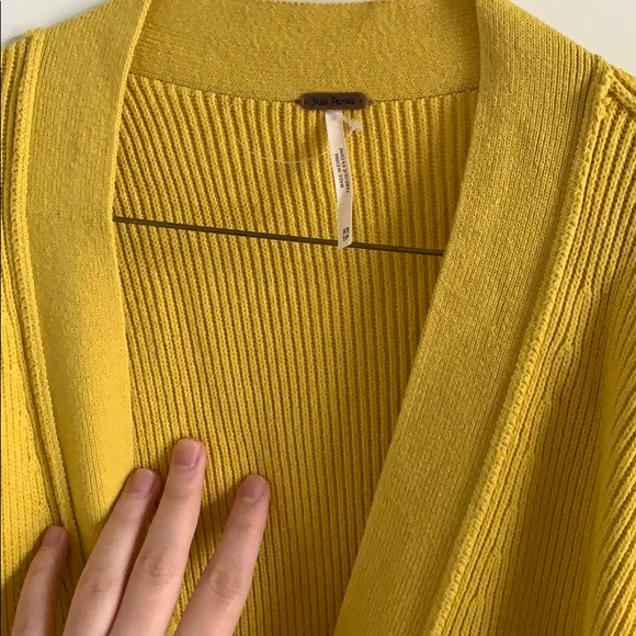 Long lovely Free People yellow Cardigan.